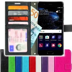 Huawei P10 Plus Wallet Case ID pocket, 4pcs Cards By TOPPEN