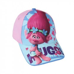 Trolls Cap Poppy With Text Hugs on the Screen, Light Pink / Turquoise