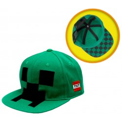 Minecraft Cap, Green With Motif Of Creep On Front