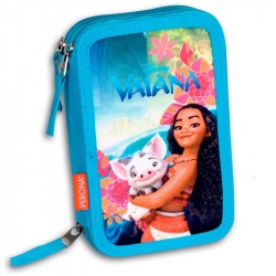Disney Vaiana Moana 43-pieces Penaaleita Triple School Set Pencil Case Pink/Blue