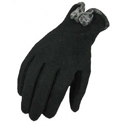 Elegant Women Wool Gloves, Finger Gloves, Black