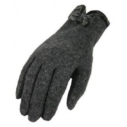Elegant Women Wool Gloves, Finger Gloves, Grey