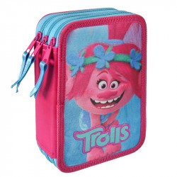 43-pieces Trolls Triple School Set Pencil Case