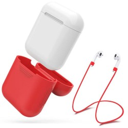 Airpod Silicone Case + Headphones Straps & Wrist Strap Apple Red