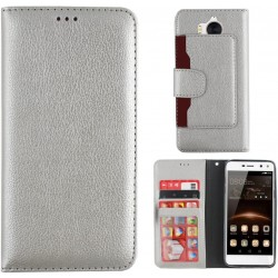 Colorfone Wallet Case for Huawei Y6 2017/Y5 2017 SILVER