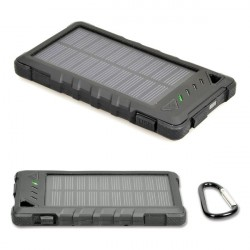 Port Designs Power Bank 8000mAh Solar Panel Battery Charger BLACK