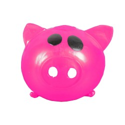 Sticky Pig Splat Ball Squeeze Toy Slime Stress Fun Prank HOT PINK