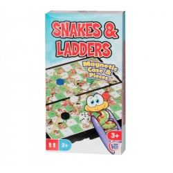 Traditional Compact Mini Travel Games Snakes and Ladders Magnetic