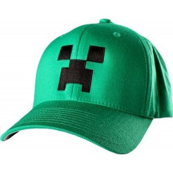 Minecraft Cap, Green With Motif Of Creep On Front, 56cm