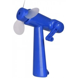 Wind Up Handy Fan Sun Vacation Cooling BLUE