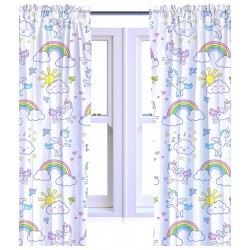 Children's Unicorn Design Ready Made Curtains 168cm x 183cm
