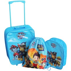 3 in 1 Set Paw Patrol Trolley Backpack Gym Bag Kids Travel Luggage Blue