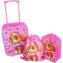 3 in 1 Set Paw Patrol Skye Trolley Backpack Gym Bag Kids Travel Luggage Pink