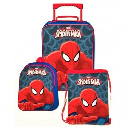 3 in 1 Set Spiderman Trolley Backpack Gym Bag Kids Travel Luggage