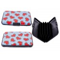 Aluminum Card Holder Wallet Credit With Hearts Blue