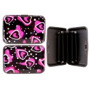 Aluminum Card Holder Wallet Credit With Hearts Black/Pink