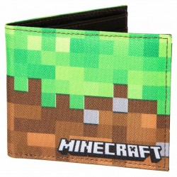 Minecraft Dirt Block Nylon Bi-Fold Wallet 9x11cm