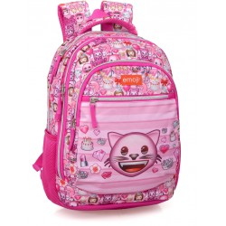Emoji Pink Cat Backpack School Bag Reppu Laukku 44,5x30x15,5 cm