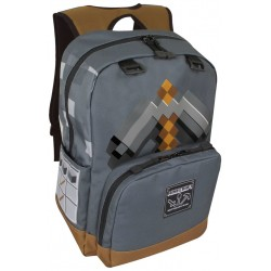 Minecraft Pickaxe Adventure Backpack Skolesæk Rygsæk Grå 44cm