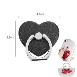 360° Rotatable Ring Holder For Universal Phone Heart Black