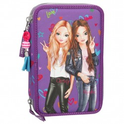 TOPModel Christy & Hayden44-pieces Penaaleita Triple Pencil Case Purple