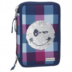 TOPModel Sequins Smiley 44-pieces Penaaleita Triple School Set Pencil Case