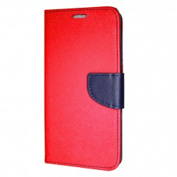 Huawei P20 Lite Cover Fancy Wallet Case Red-Navy