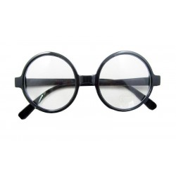 Fancy Dress Black Geek Style Plastic Wizard Glasses Without Optic