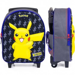 Pokemon Pikachu Pika Pika Mini Trolley 3D Backpack Travel Bag 31x25x12 cm
