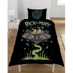 Rick and Morty UFO Spaceship Bed Linen Single Duvet Cover Set 137x198cm