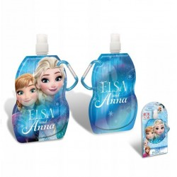 Disney Frozen Flexible Foldable Water Bottle With Carabiner 500ml Blue