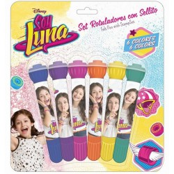 Disney Soy Luna Set 6pcs Marker Felt Pens With StampSet