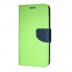 Huawei P20 Cover Fancy Wallet Case Lime-Navy