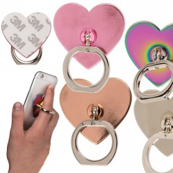 360° Rotatable Ring Holder For Universal Phone Heart Chrome/Silver 1pc