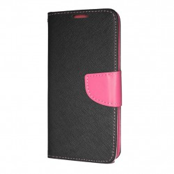 Samsung Galaxy A7 2018 Cover Fancy Wallet Case + Wrist Strap Black-Pink