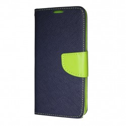 Samsung Galaxy A7 2018 Cover Fancy Wallet Case + Wrist Strap Navy-Lime