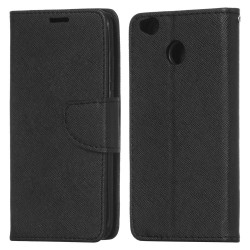 Xiaomi Redmi 4X Cover Fancy Wallet Case + Wrist Strap Black
