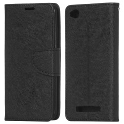 Xiaomi Redmi 4A Cover Fancy Wallet Case + Wrist Strap Black