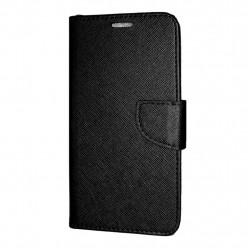 LG Q7 Cover Fancy Case Black Nahkakotelo Lompakkokotelo