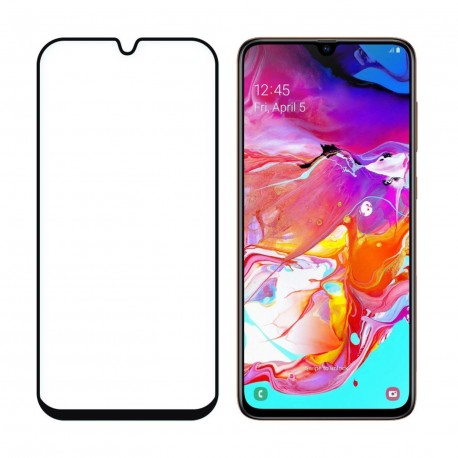Full Screen Samsung Galaxy A70 Tempered Glass Screen Protector Black Retail