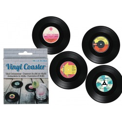Cool Party Spinning Retro Vinyl CD Record Drinks Coasters 4-Pack