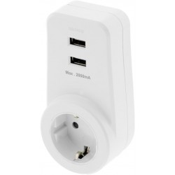 Grounded DELTACO USB wall charger, 100-240V to 5V USB, 2A, 2xUSB ports, EU