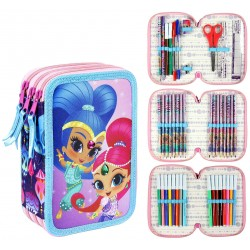 Shimmer & Shine 43-pieces Triple School Set Filled Pencil Case