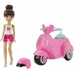 Barbie On the Go Pink Scooter And Doll 10cm