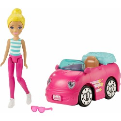 Barbie On the Go Pink Car And Doll 10cm