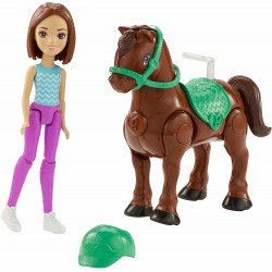 Barbie On the Go Brown Pony Horse And Doll 10cm