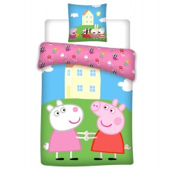 Peppa Pig & Suzy Sheep Bed linen Duvet Cover 140x200+65x65cm