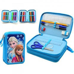 46-pieces Frozen Elsa Anna Triple School Set Pencil Case Blue
