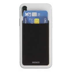 DELTACO Card Holder + RFID-Blocking For Phones 3M-Adhesive Black