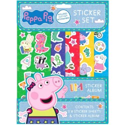 Peppa Pig Sticker Set Children Reusable Stickers + Album